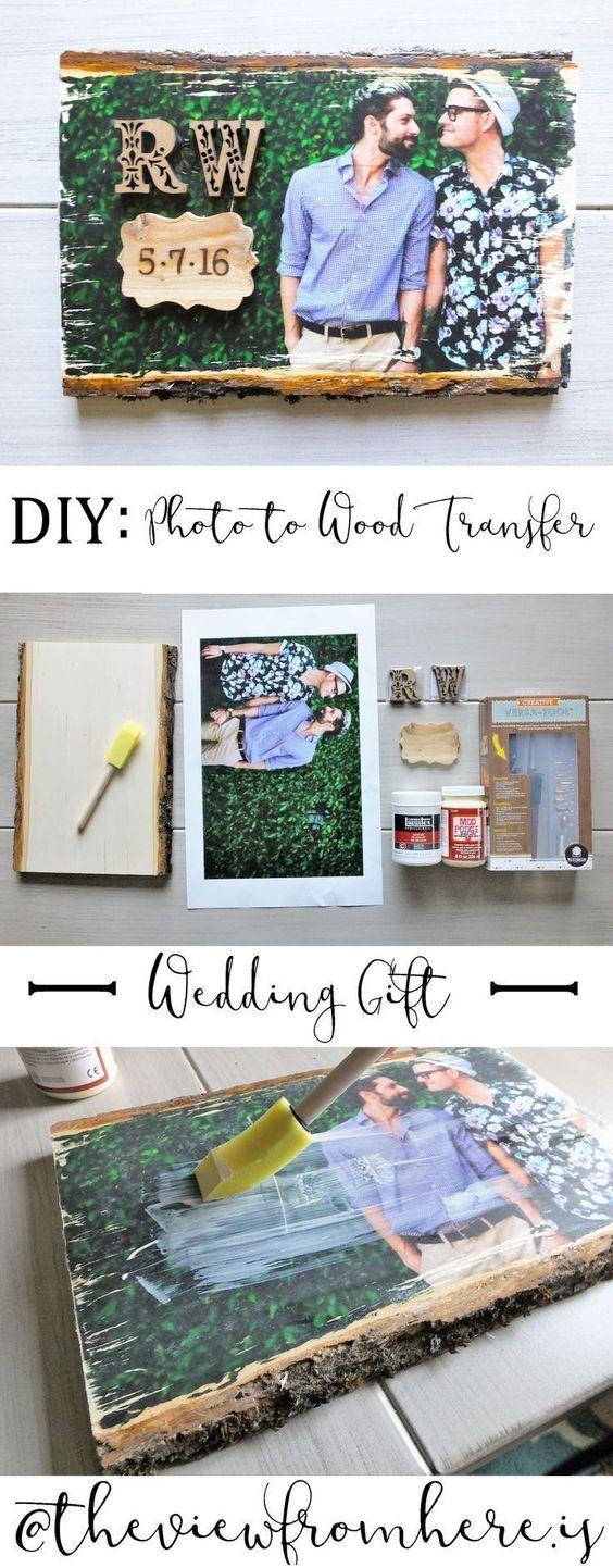 DIY Photo-to-Wood Transfer Wedding Gift.