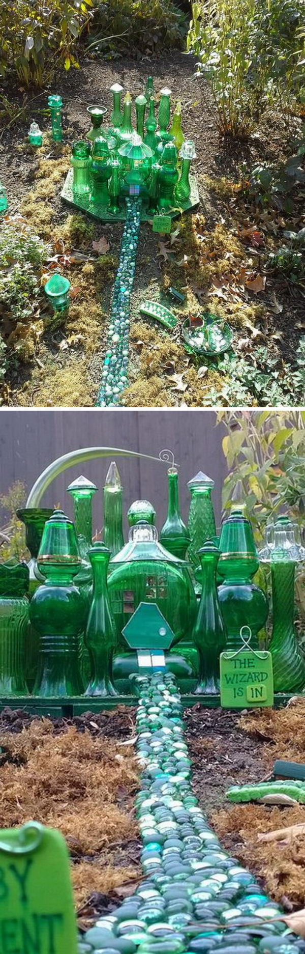 Vintage Green Glass Fairy Garden.