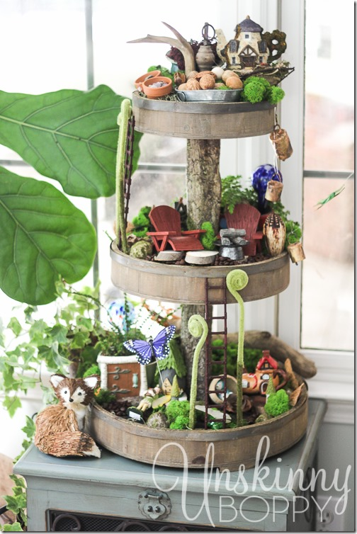 DIY Fairy Garden in a Rustic Wooden Tiered Tray.