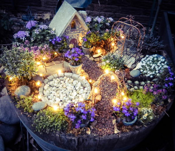 DIY Fairy Garden with Magical Lights.
