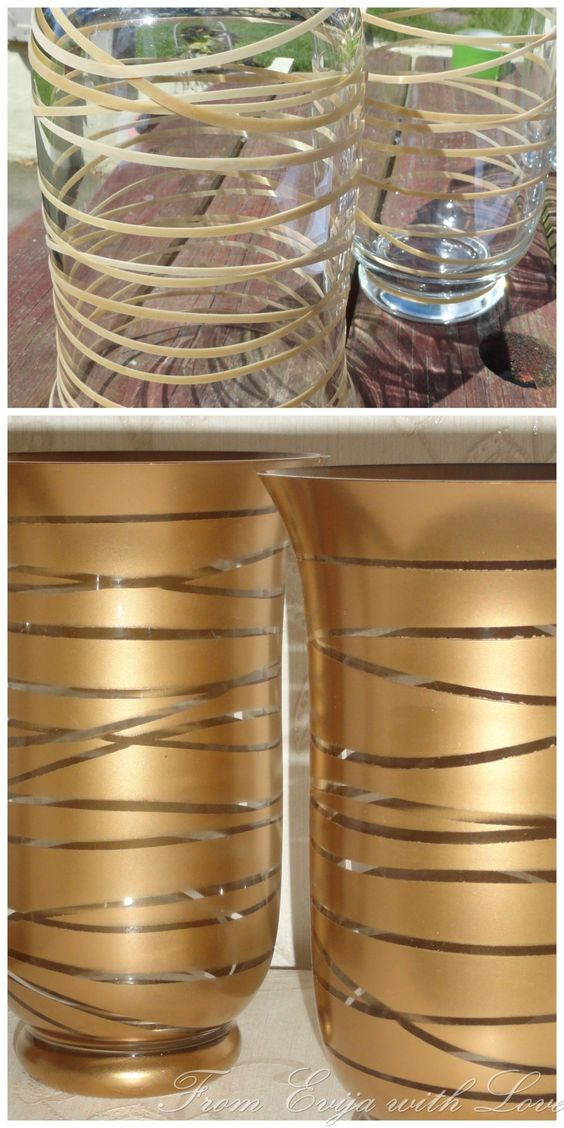 Transform An Old Glass Container Into A Beautiful Piece Using Gold Spray Paint.