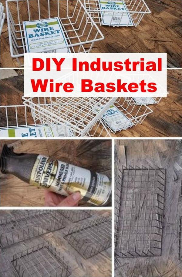 DIY Industrial Wire Basket.
