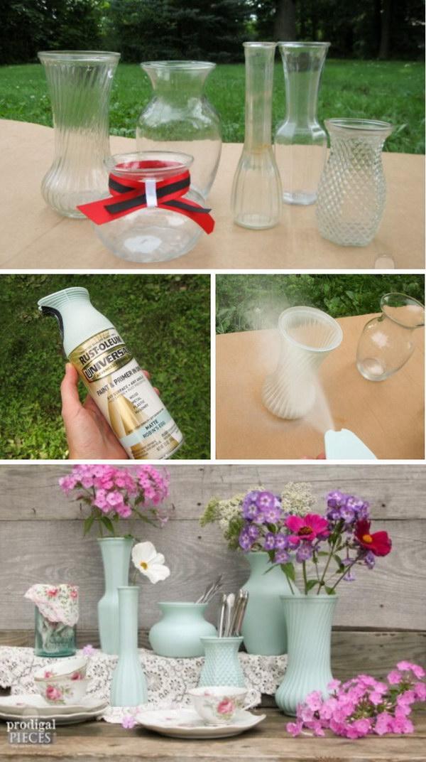 DIY Thrift Store Glass Vase.