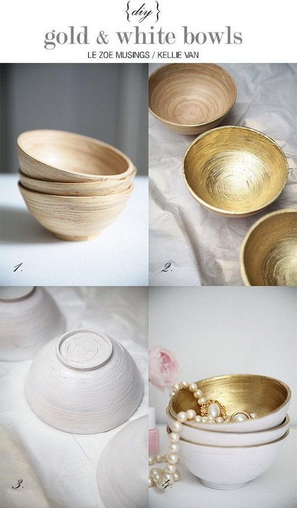 DIY Gold and White Bowls.