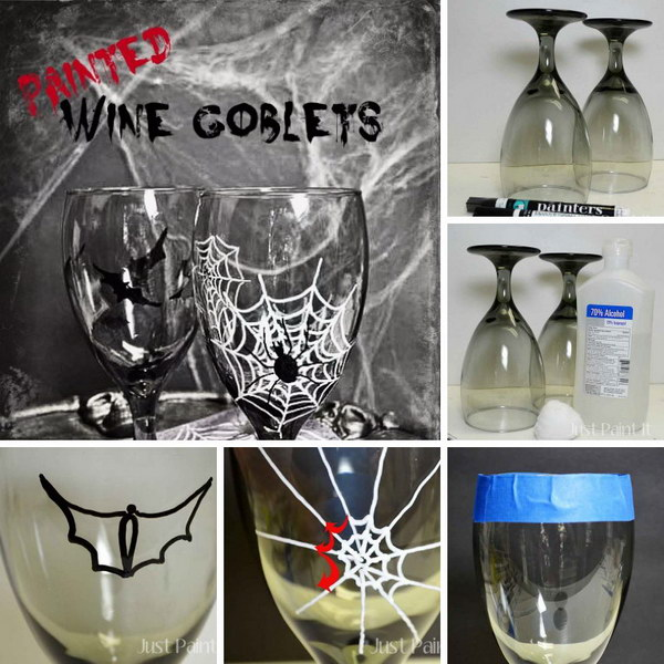 Painted Halloween Goblets - Easy to Paint Wine Glasses Using Paint Pens.