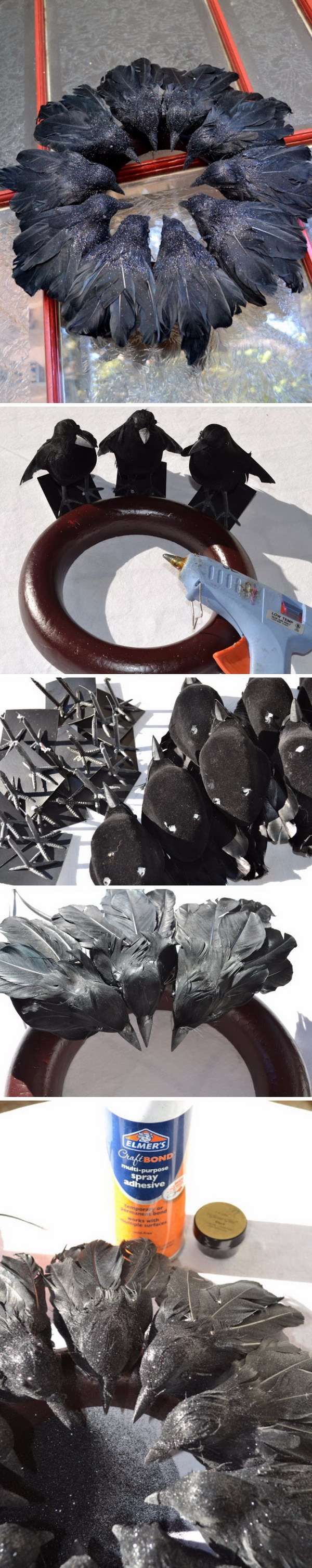 DIY Elegant Raven Wreath from Dollar Store Black Birds.