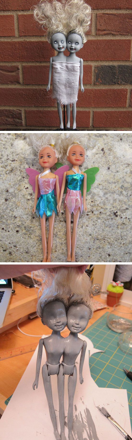DIY Zombie Siamese Twin Dolls.