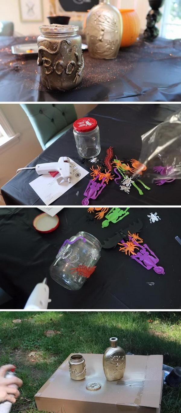Halloween DIY Mason Jars From The Dollar Tree.