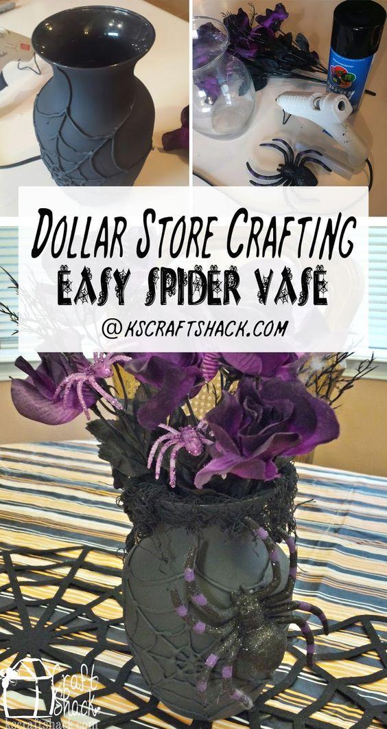 DIY Spider Halloween Vase from Dollar Store Vase.