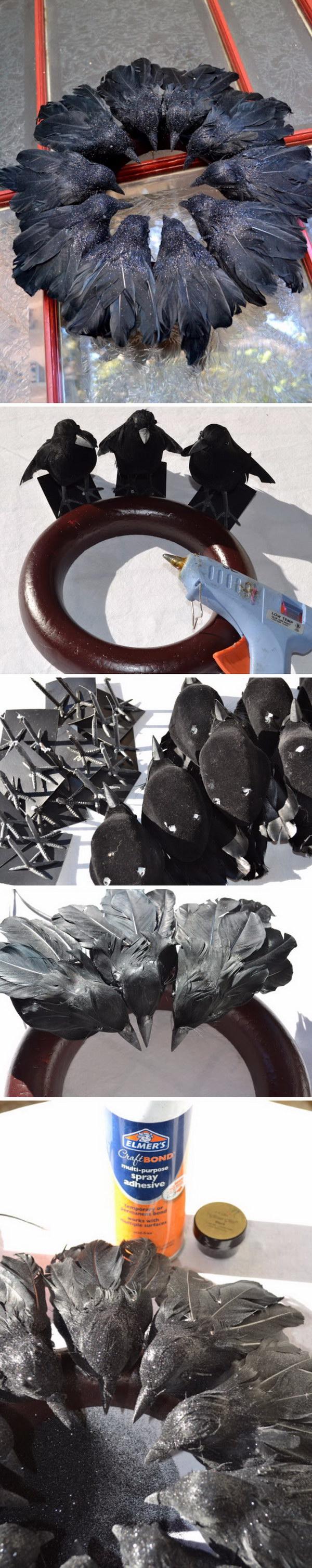 DIY Elegant Raven Wreath from Dollar Store Black Birds.