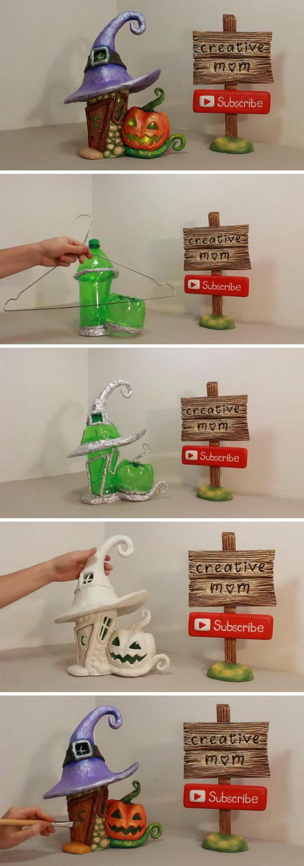 DIY Halloween Fairy House Lamp Using a Plastic Bottle.