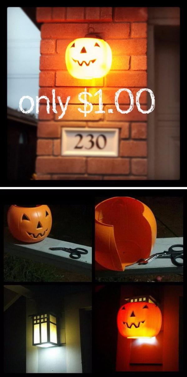 $1.00 Plastic Pumpkins Recycled As Outdoor Halloween Lights.