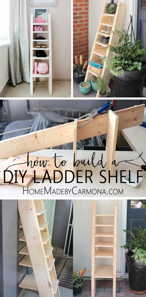DIY Ladder Shelf Shoe Storage.