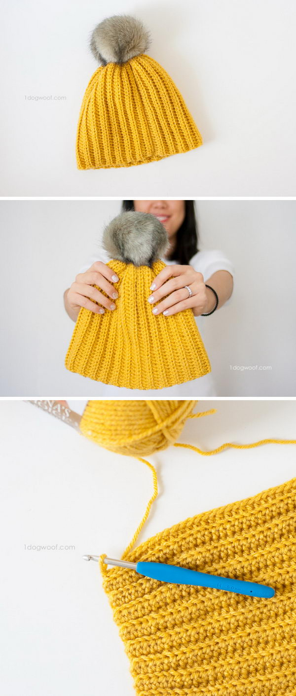 Easy Ribbed Pom Beanie.