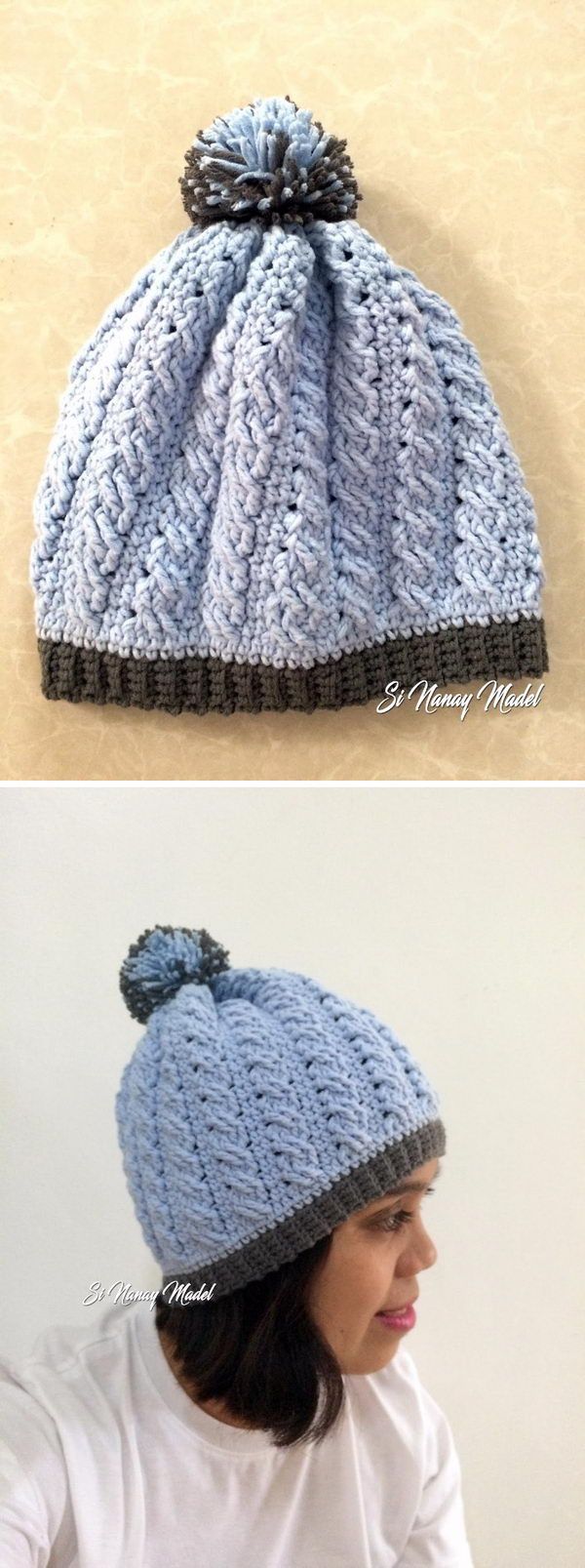 Crochet Cable Braid Stitch Hat.