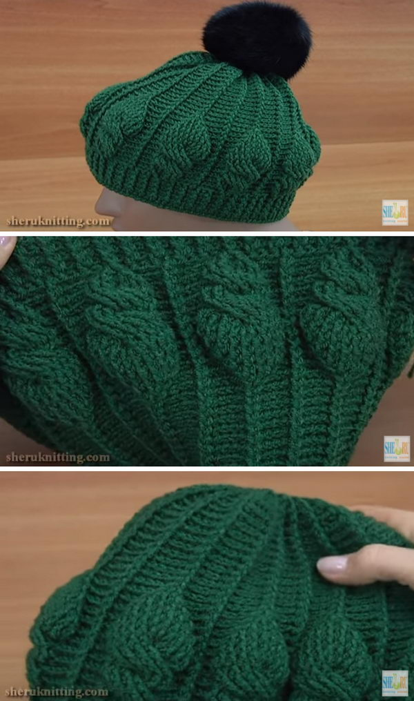 Crochet Embroidery Cable Stitch Hat.