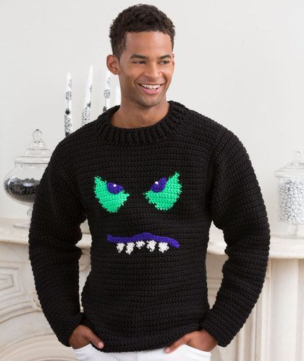 Monster Face Crochet Sweater.