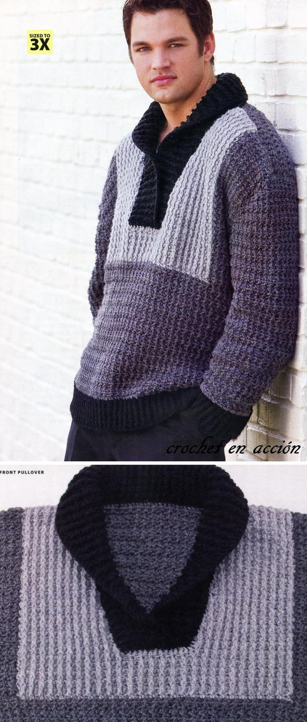 15 Crochet Men Sweater Patterns 2018