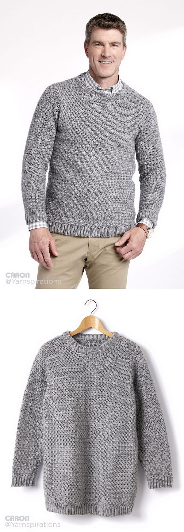 Adult Crochet Crew Neck Pullover.