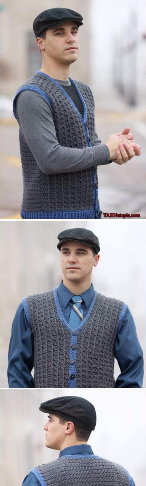 15 Crochet Men Sweater Patterns 2017