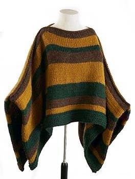 Crochet Man's Striped Poncho.