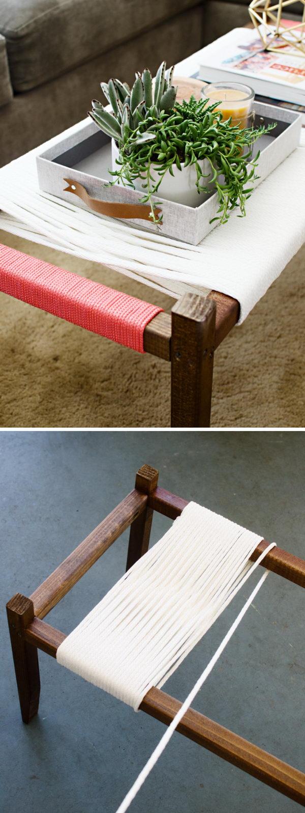 DIY Woven Bench.