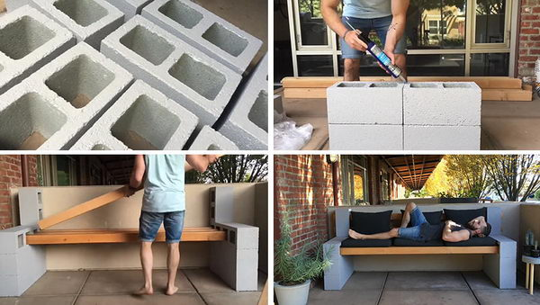 DIY Concrete Block Bench.