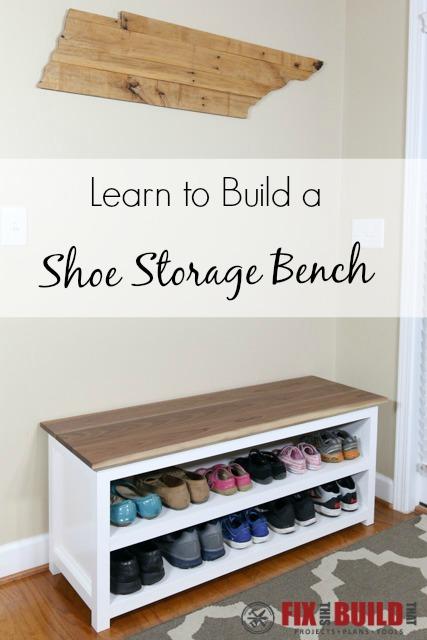 DIY Entryway Shoe Storage Bench.