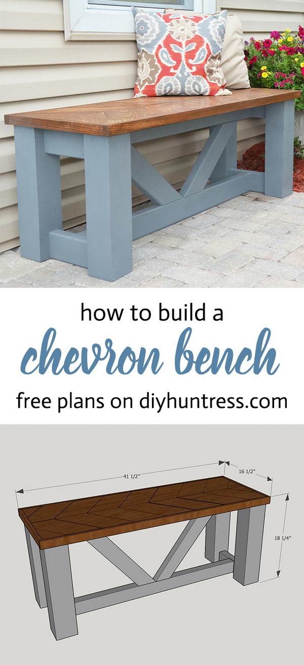 DIY Wooden Chevron Bench.