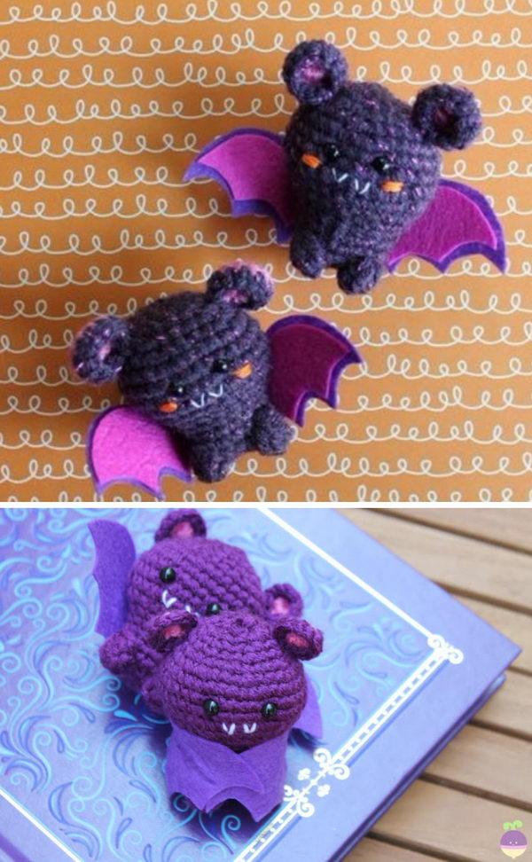 Crochet Amigurumi Kawaii Bat.