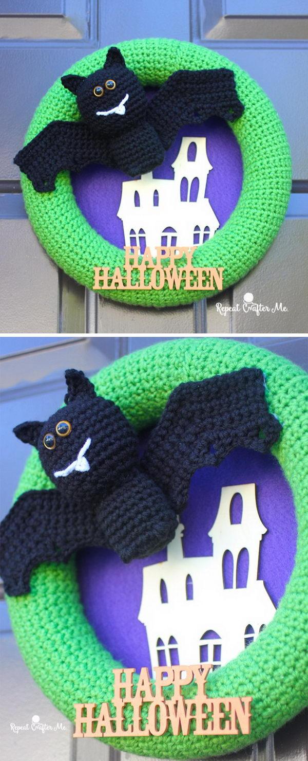 Crochet Halloween Bat Wreath.