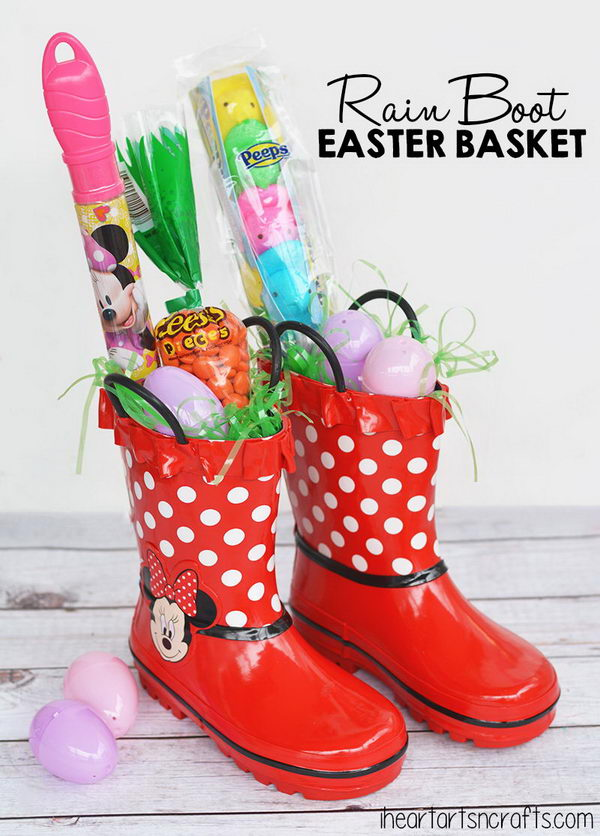 Rain Boot Easter Basket Idea.