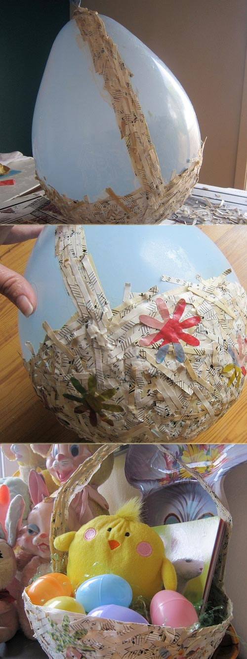 Easter Basket Recycled From Shredded Paper.