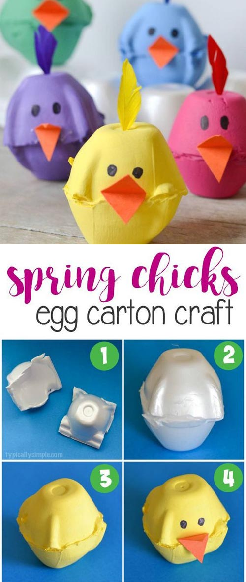 Super Cute Egg Carton Chicks.