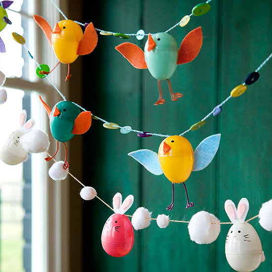 Make a Fun Easter Garland Using Plastic Eggs, Pom-poms, Buttons and Thread.