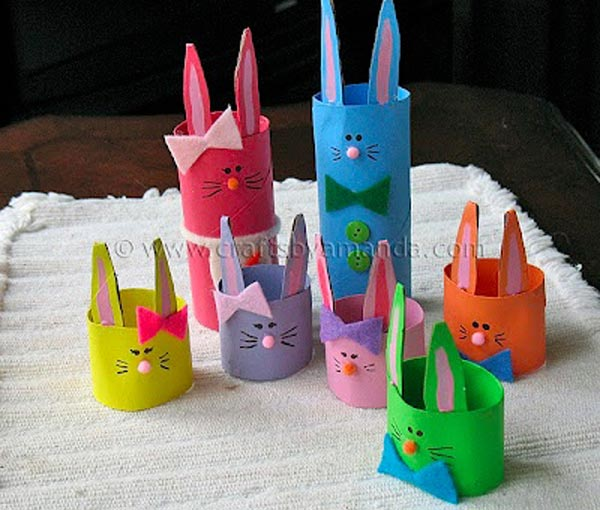 Cardboard Tube Bunny Rabbit Family.