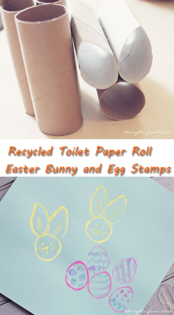 Recycled Toilet Paper Roll Easter Bunny and Egg Stamps.