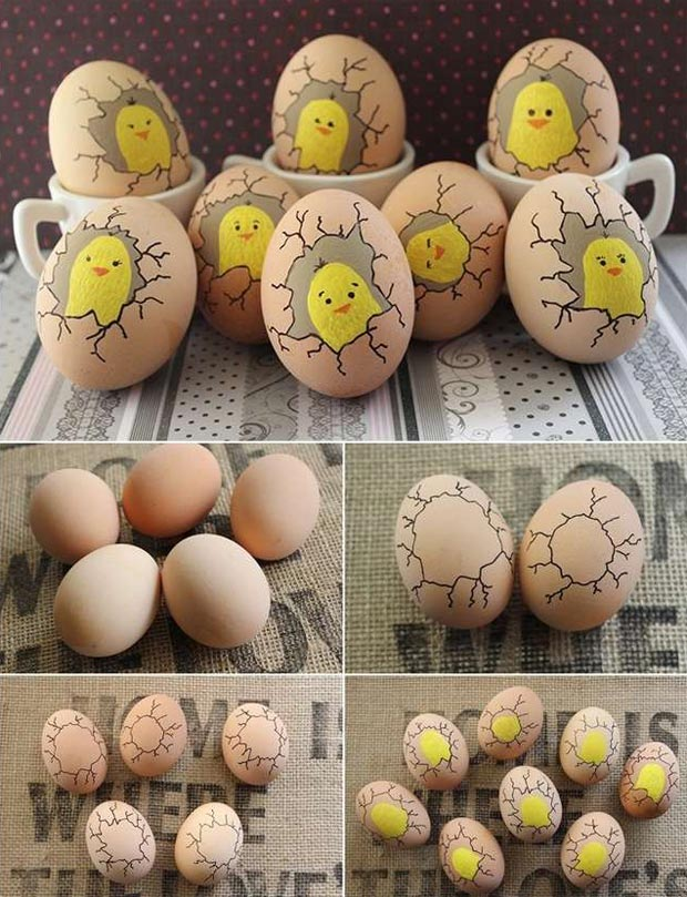 Paint Cute Chicks Inside Eggs.